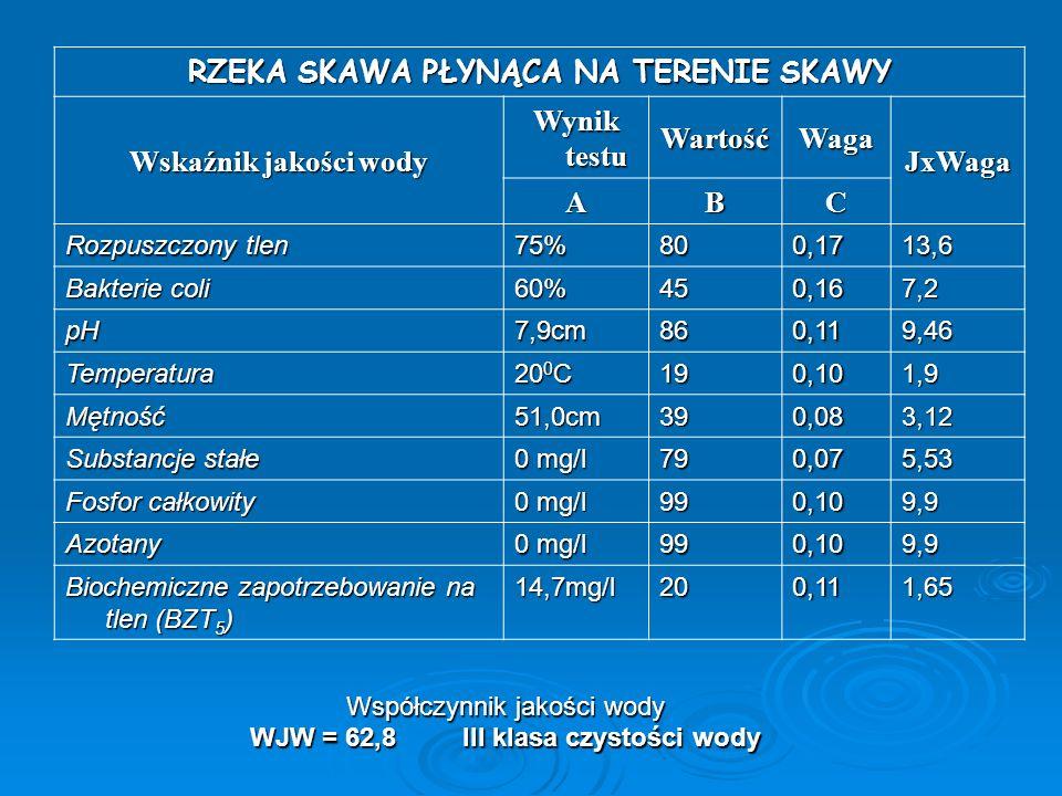 RZEKA SKAWA PŁYNĄCA NA TERENIE SKAWY Wskaźnik jakości wody Wynik testu