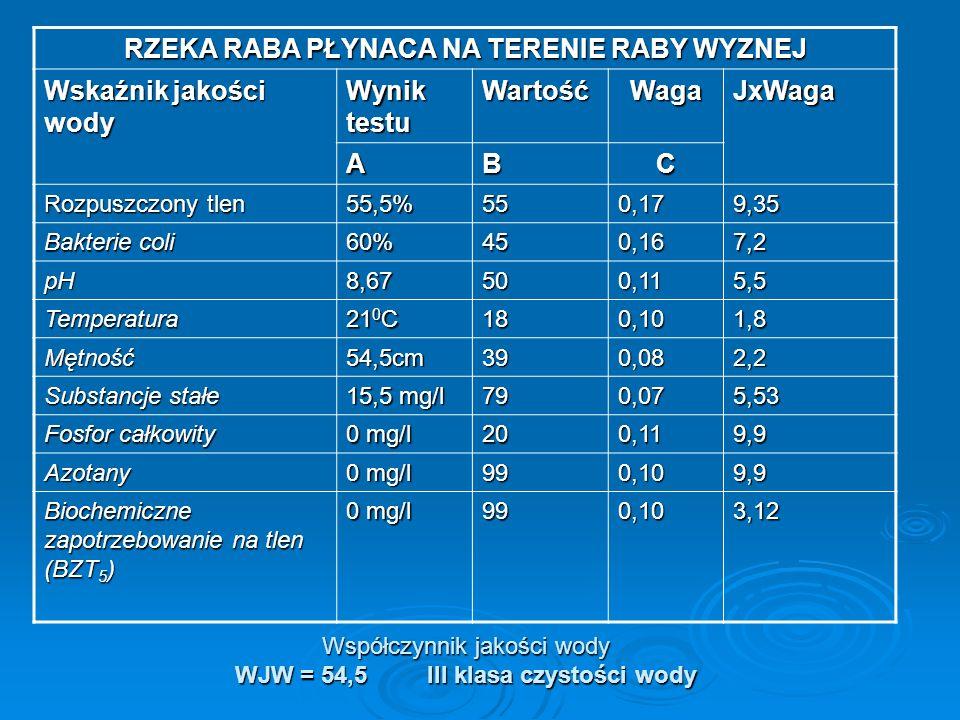Współczynnik jakości wody WJW = 54,5 III klasa czystości wody