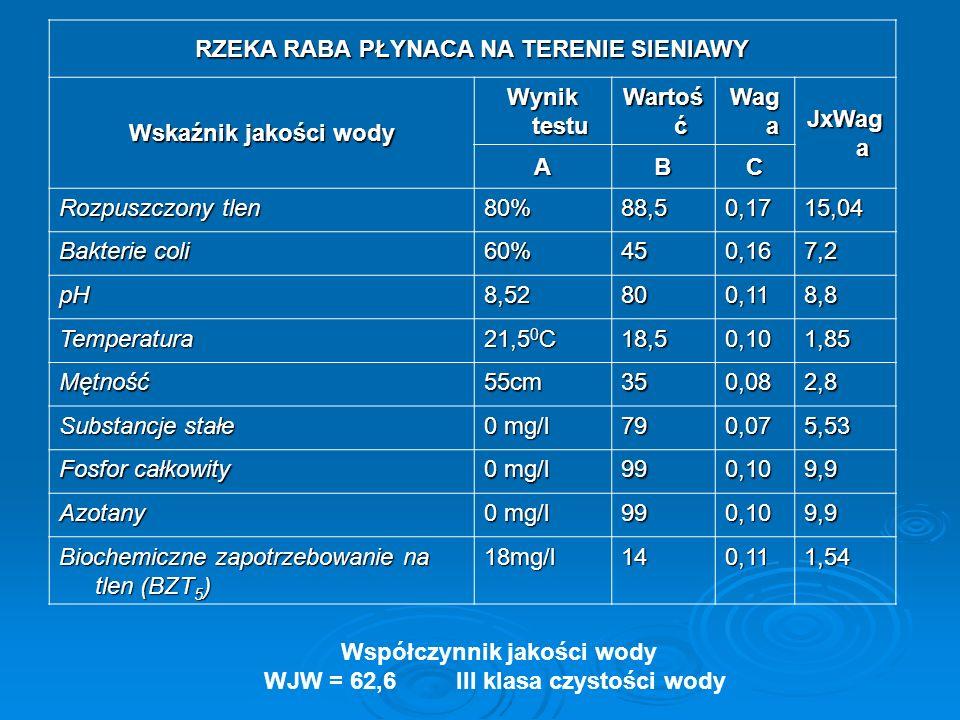 RZEKA RABA PŁYNACA NA TERENIE SIENIAWY Wskaźnik jakości wody