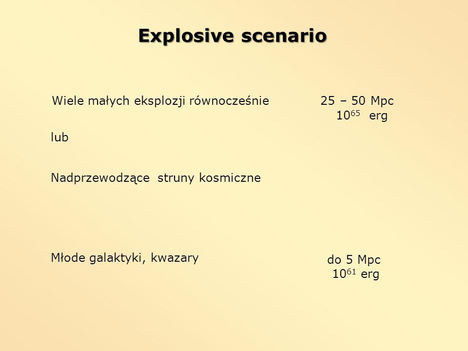 Explosive scenario Wiele małych eksplozji równocześnie 25 – 50 Mpc
