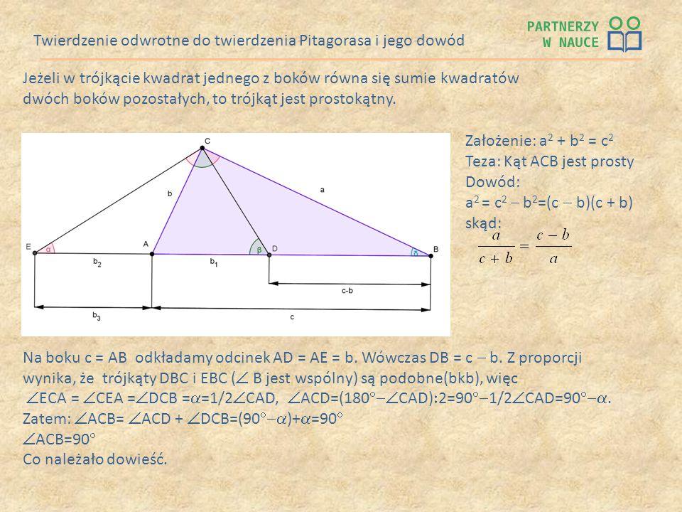 Twierdzenie odwrotne do twierdzenia Pitagorasa i jego dowód