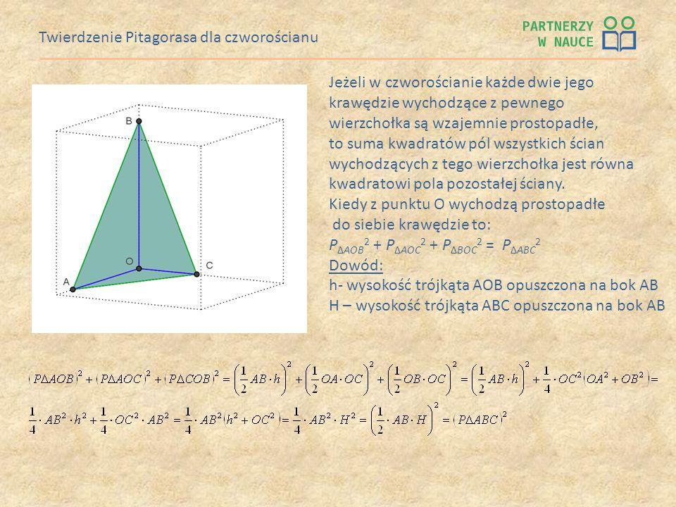 Twierdzenie Pitagorasa dla czworościanu