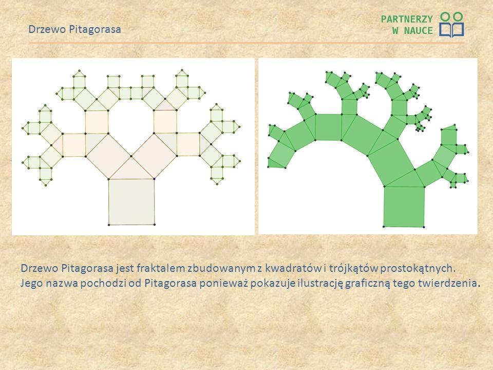 Drzewo Pitagorasa Drzewo Pitagorasa jest fraktalem zbudowanym z kwadratów i trójkątów prostokątnych.