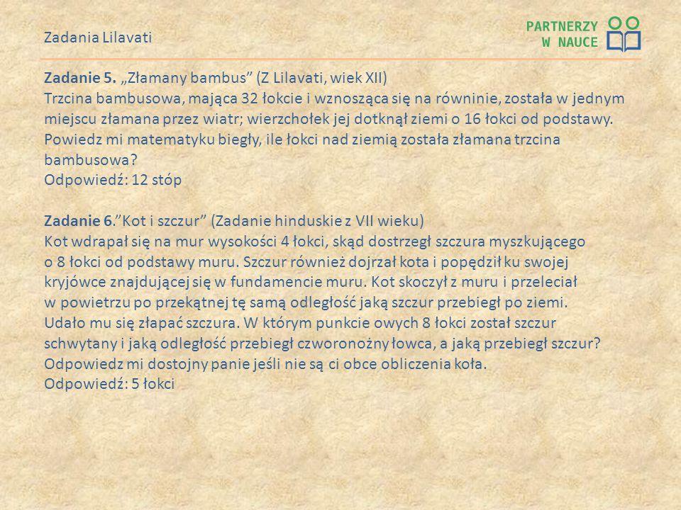 """Zadania Lilavati Zadanie 5. """"Złamany bambus (Z Lilavati, wiek XII)"""