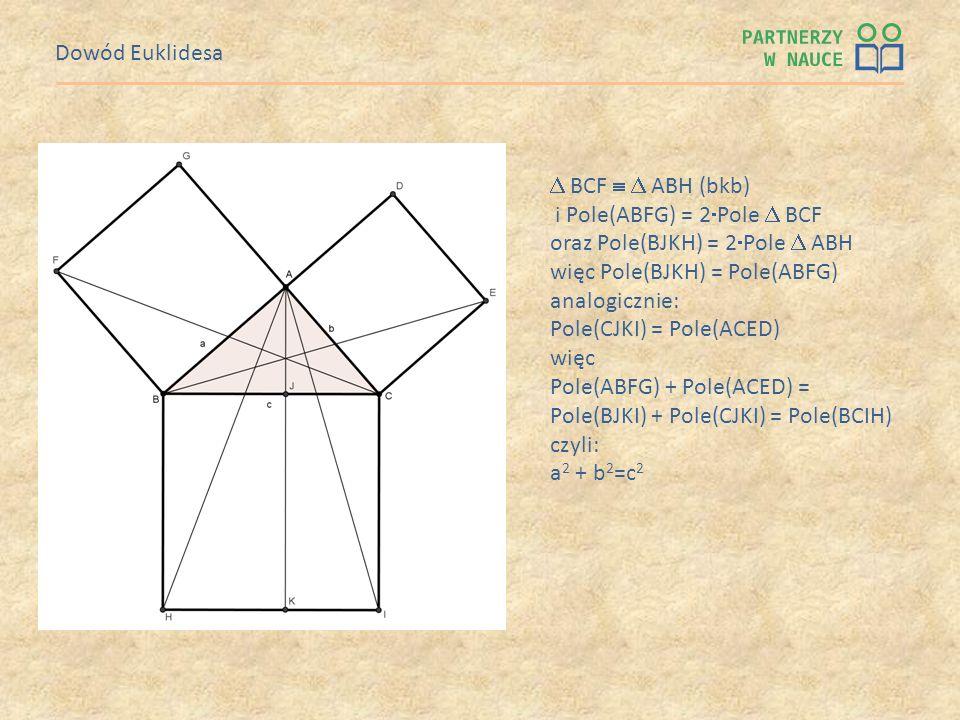 Dowód Euklidesa  BCF   ABH (bkb) i Pole(ABFG) = 2Pole  BCF. oraz Pole(BJKH) = 2Pole  ABH. więc Pole(BJKH) = Pole(ABFG)