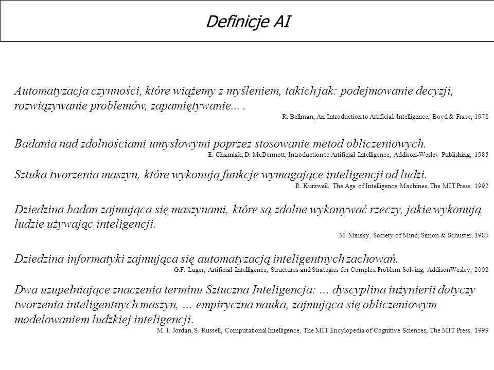 Definicje AI Automatyzacja czynności, które wiążemy z myśleniem, takich jak: podejmowanie decyzji, rozwiązywanie problemów, zapamiętywanie... .