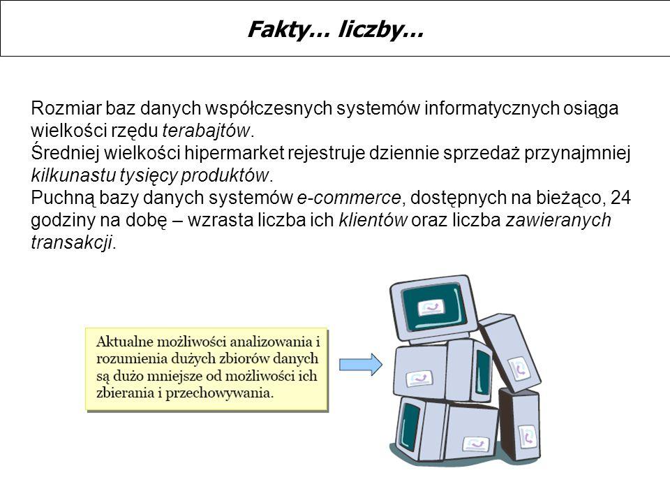 Fakty… liczby… Rozmiar baz danych współczesnych systemów informatycznych osiąga wielkości rzędu terabajtów.