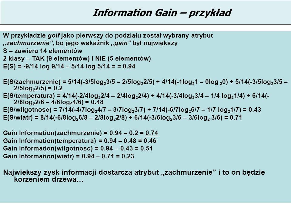 Information Gain – przykład