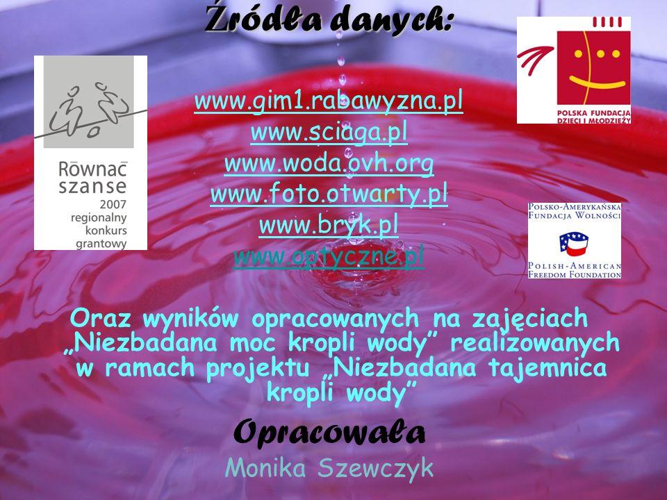 Źródła danych: Opracowała www.gim1.rabawyzna.pl www.sciaga.pl