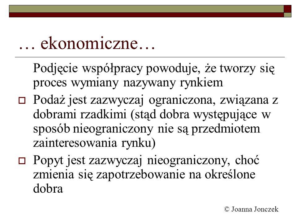 … ekonomiczne… Podjęcie współpracy powoduje, że tworzy się proces wymiany nazywany rynkiem.