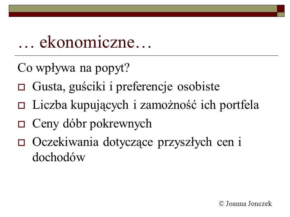 … ekonomiczne… Co wpływa na popyt