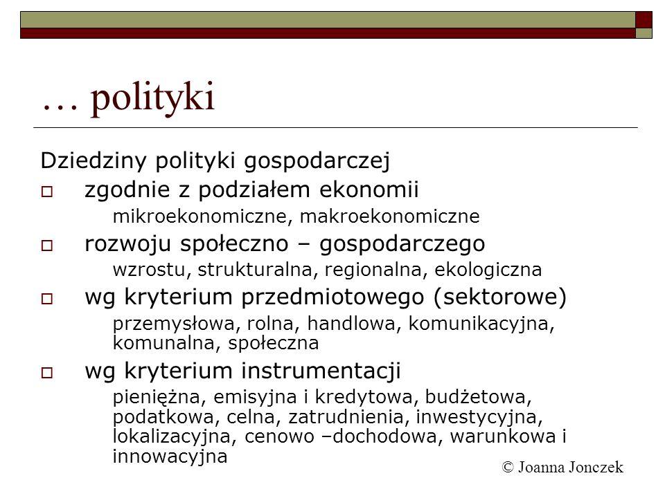 … polityki Dziedziny polityki gospodarczej
