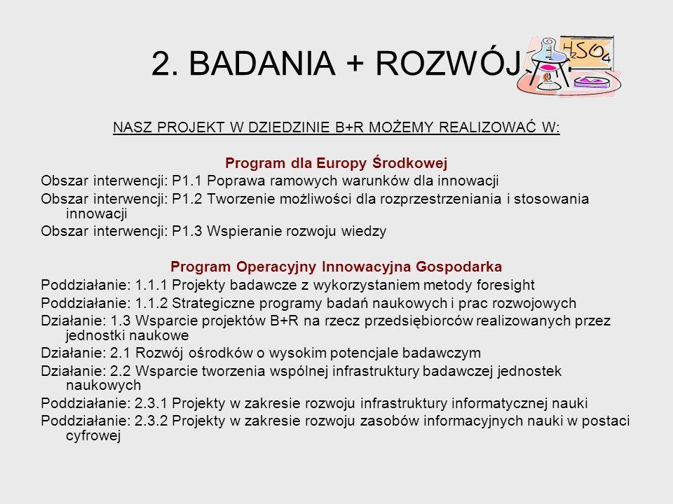 Program dla Europy Środkowej Program Operacyjny Innowacyjna Gospodarka