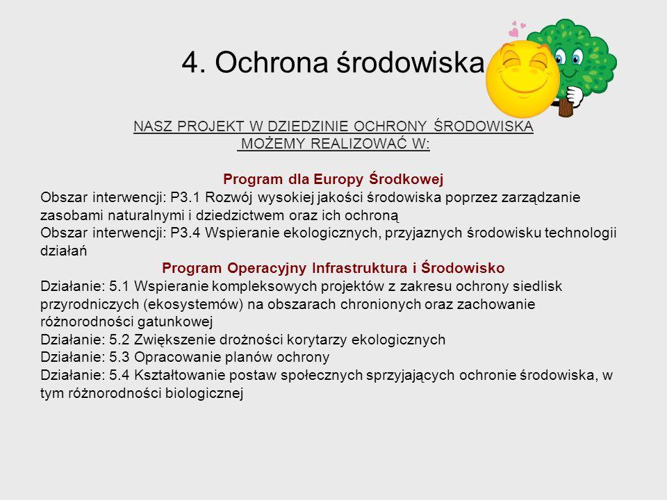 4. Ochrona środowiska NASZ PROJEKT W DZIEDZINIE OCHRONY ŚRODOWISKA