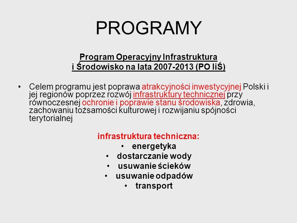 PROGRAMY Program Operacyjny Infrastruktura