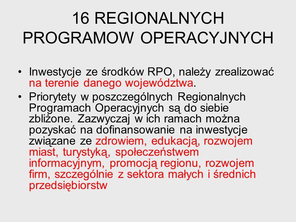 16 REGIONALNYCH PROGRAMOW OPERACYJNYCH