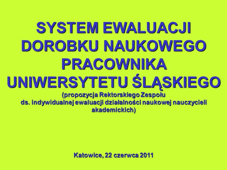 SYSTEM EWALUACJI DOROBKU NAUKOWEGO PRACOWNIKA UNIWERSYTETU ŚLĄSKIEGO