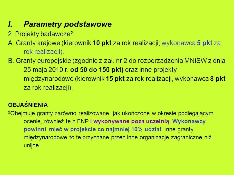 Parametry podstawowe 2. Projekty badawcze2: