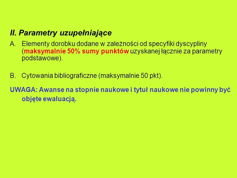 II. Parametry uzupełniające