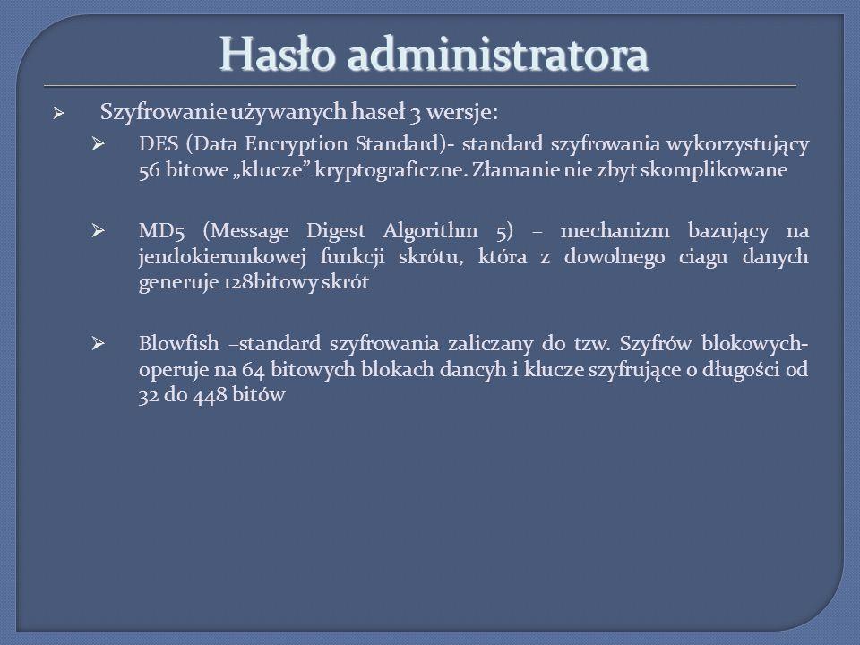 Hasło administratora Szyfrowanie używanych haseł 3 wersje: