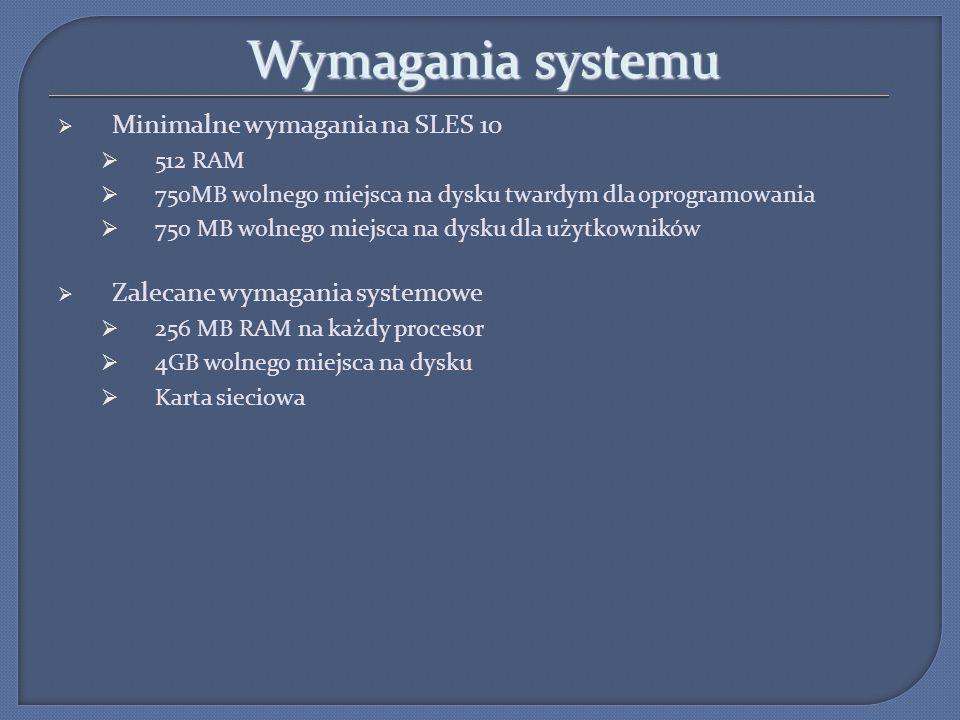 Wymagania systemu Minimalne wymagania na SLES 10