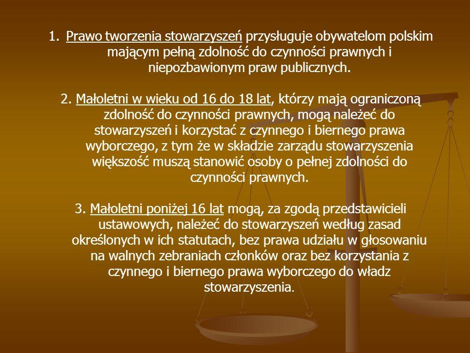 Prawo tworzenia stowarzyszeń przysługuje obywatelom polskim mającym pełną zdolność do czynności prawnych i niepozbawionym praw publicznych.