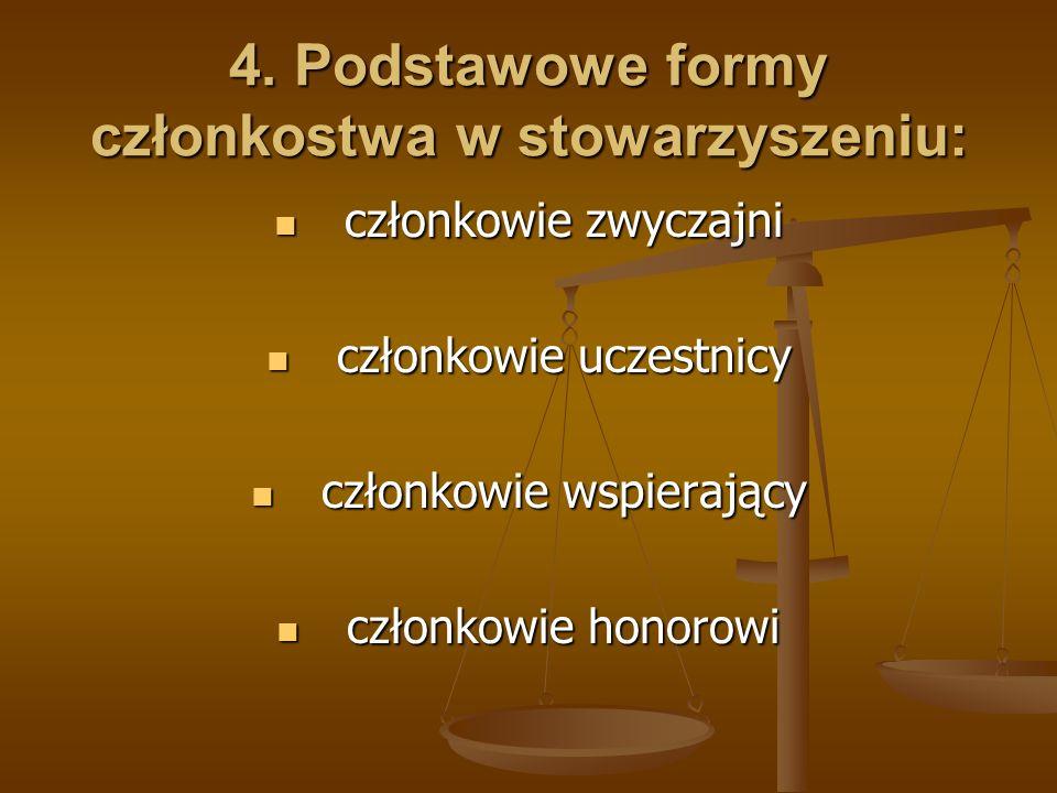 4. Podstawowe formy członkostwa w stowarzyszeniu: