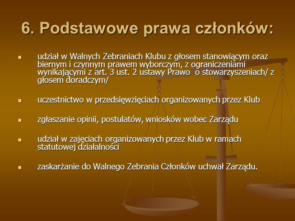 6. Podstawowe prawa członków: