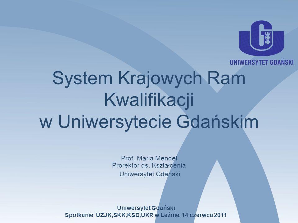 System Krajowych Ram Kwalifikacji w Uniwersytecie Gdańskim