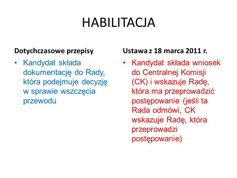 HABILITACJA Dotychczasowe przepisy Ustawa z 18 marca 2011 r.