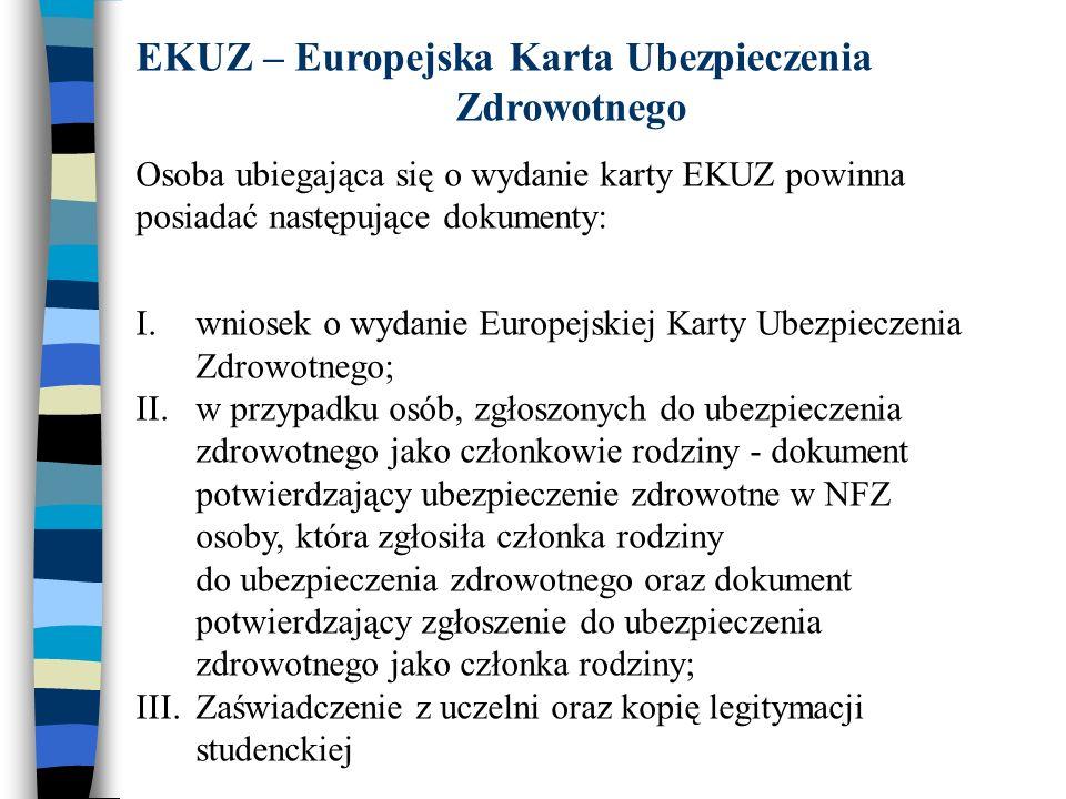 EKUZ – Europejska Karta Ubezpieczenia Zdrowotnego