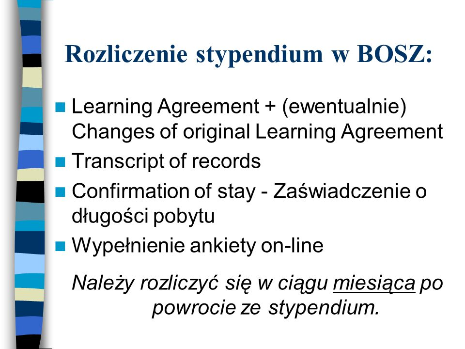 Rozliczenie stypendium w BOSZ: