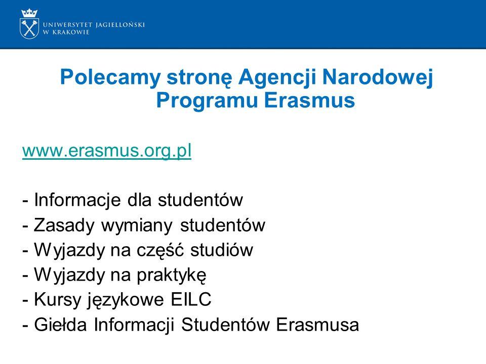 Polecamy stronę Agencji Narodowej Programu Erasmus