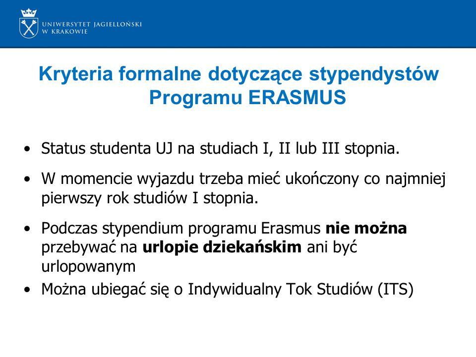 Kryteria formalne dotyczące stypendystów Programu ERASMUS