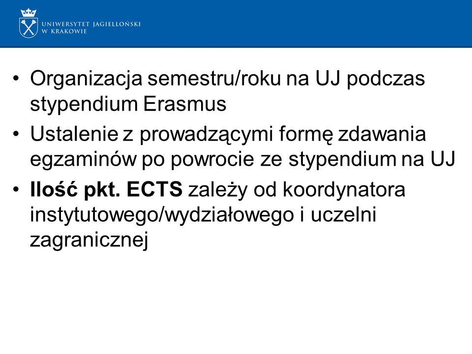 Organizacja semestru/roku na UJ podczas stypendium Erasmus