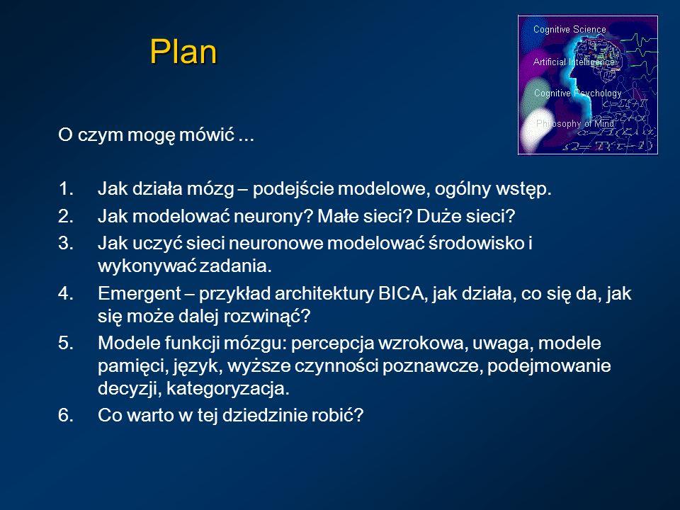 Plan O czym mogę mówić ... Jak działa mózg – podejście modelowe, ogólny wstęp. Jak modelować neurony Małe sieci Duże sieci