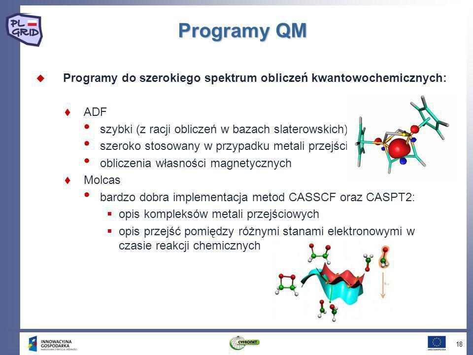 Programy QM Programy do szerokiego spektrum obliczeń kwantowochemicznych: ADF. szybki (z racji obliczeń w bazach slaterowskich)