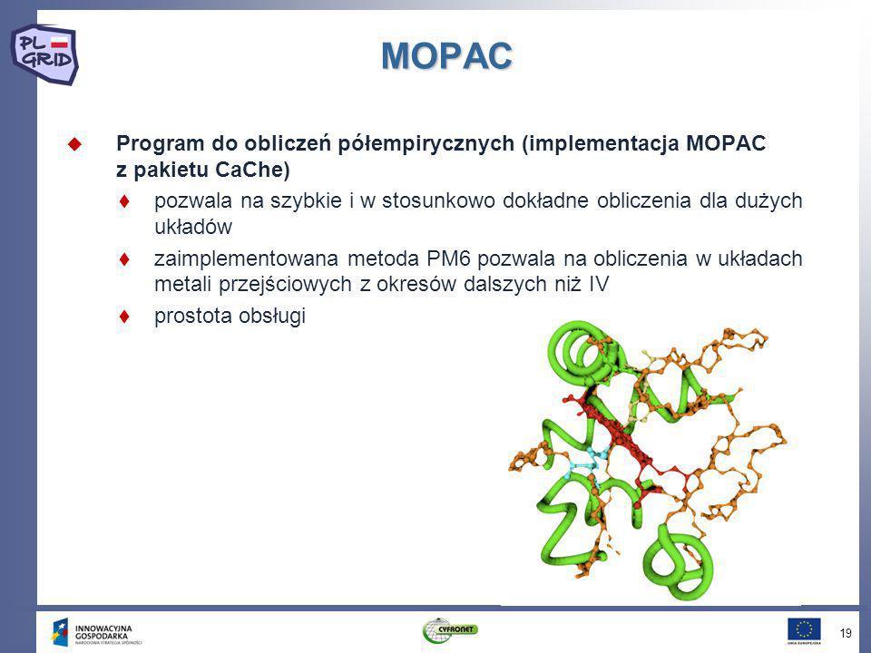 MOPAC Program do obliczeń półempirycznych (implementacja MOPAC z pakietu CaChe)