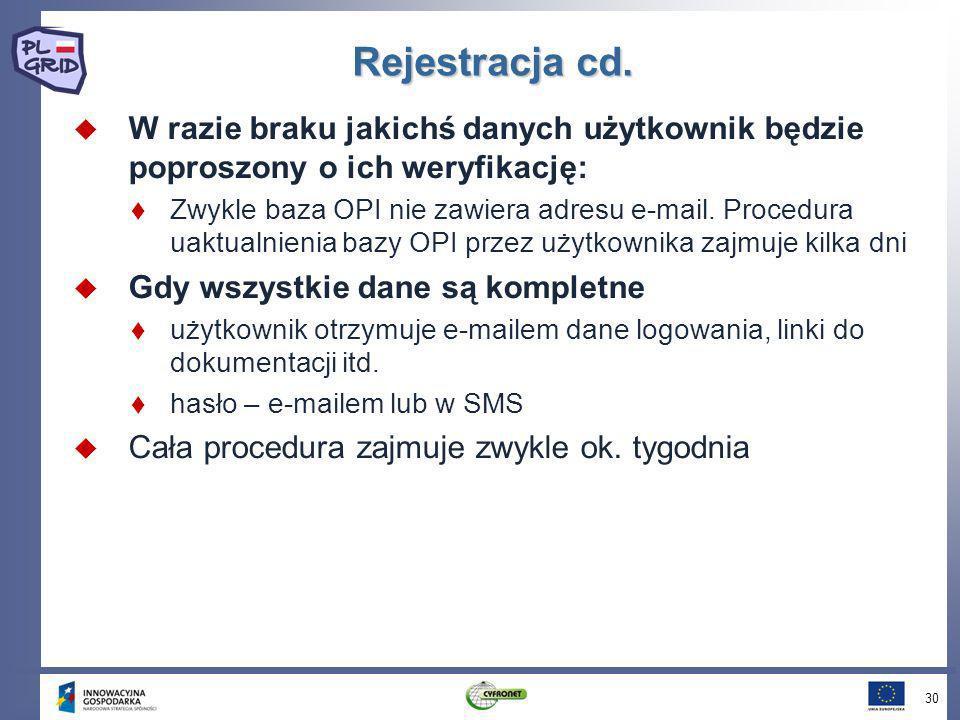 Rejestracja cd. W razie braku jakichś danych użytkownik będzie poproszony o ich weryfikację: