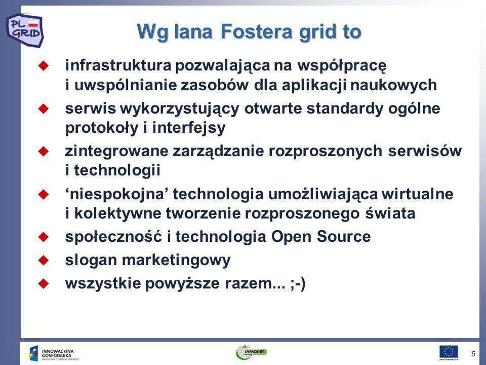 Wg Iana Fostera grid to infrastruktura pozwalająca na współpracę i uwspólnianie zasobów dla aplikacji naukowych.