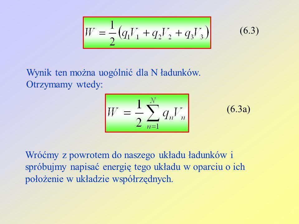 (6.3) Wynik ten można uogólnić dla N ładunków. Otrzymamy wtedy: (6.3a)