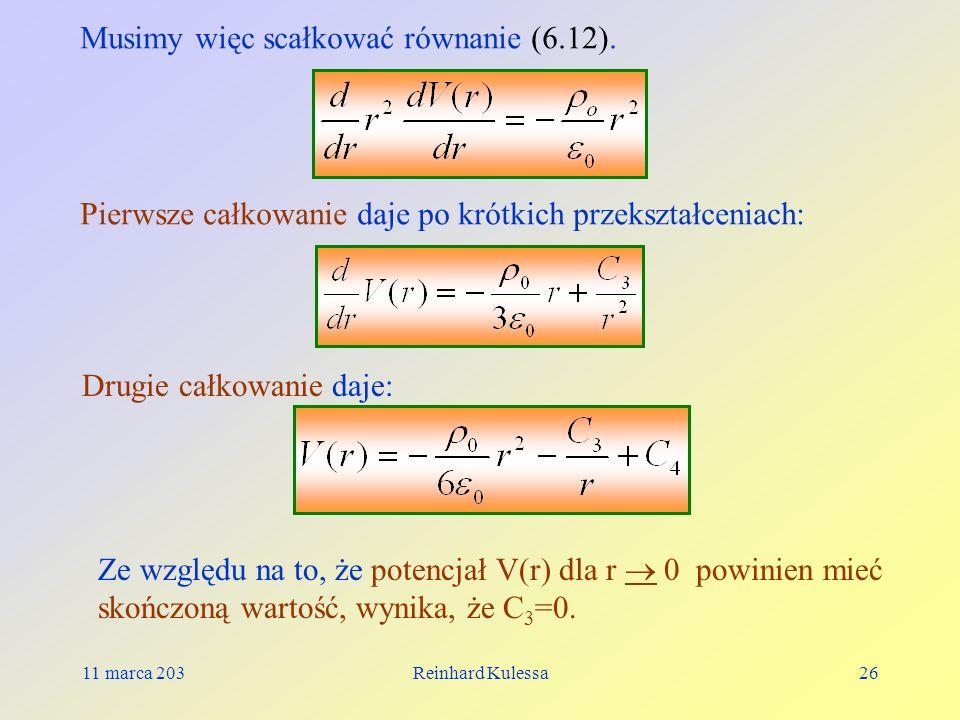 Musimy więc scałkować równanie (6.12).
