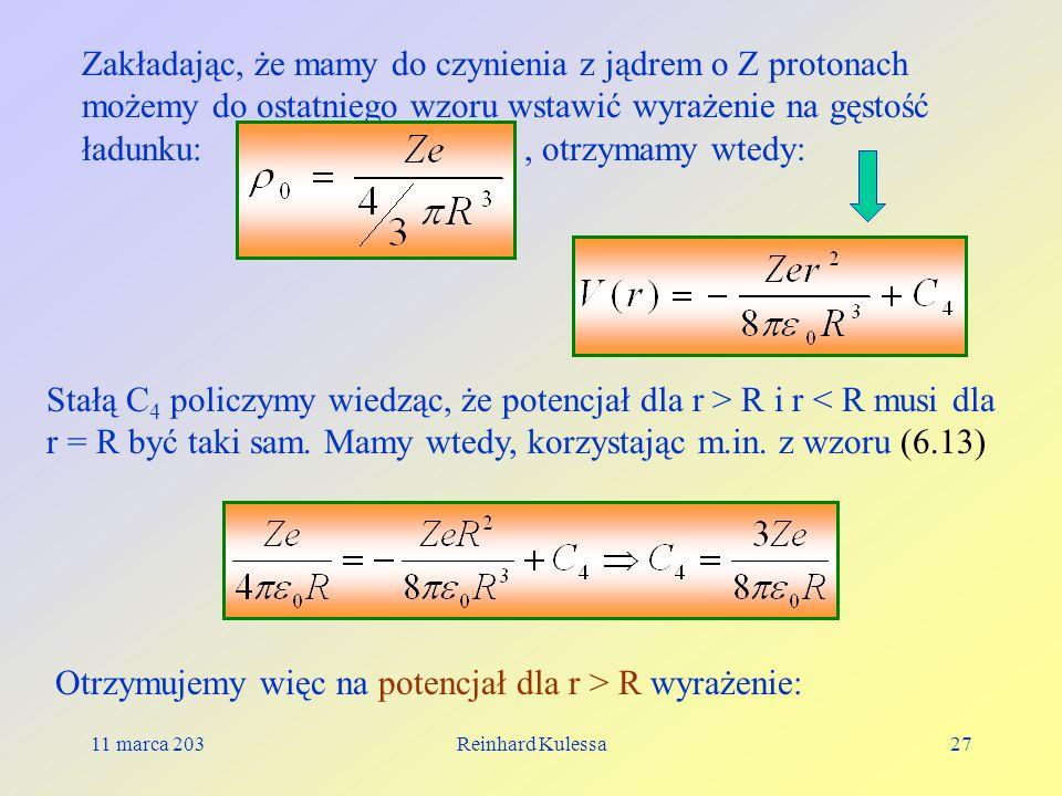 Otrzymujemy więc na potencjał dla r > R wyrażenie: