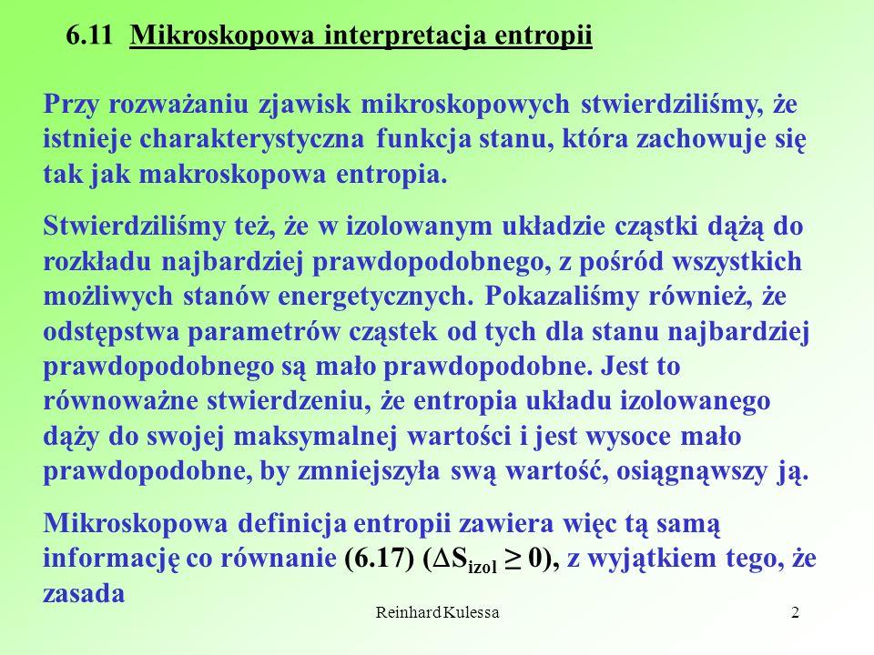 6.11 Mikroskopowa interpretacja entropii