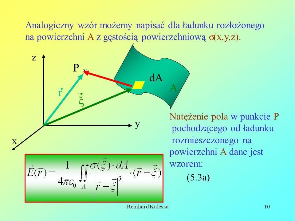 Analogiczny wzór możemy napisać dla ładunku rozłożonego na powierzchni A z gęstością powierzchniową (x,y,z).