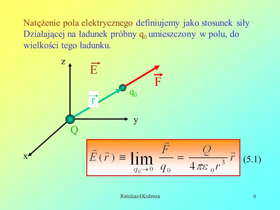 E F r Q Natężenie pola elektrycznego definiujemy jako stosunek siły