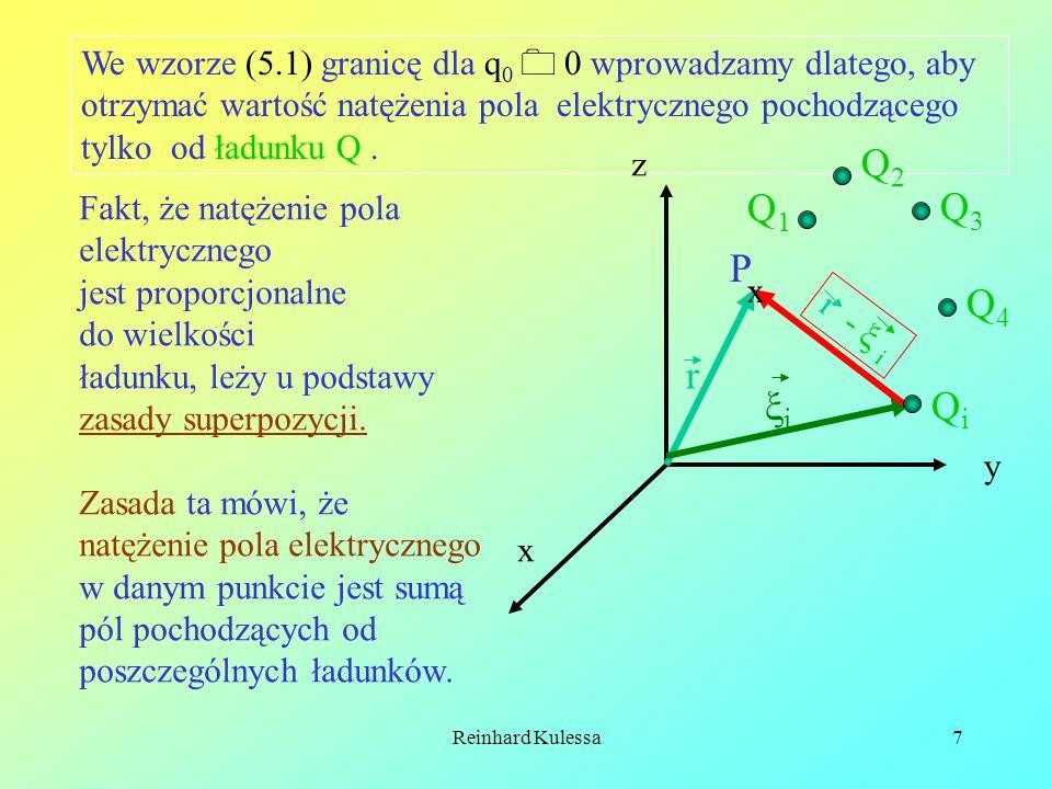 We wzorze (5.1) granicę dla q0  0 wprowadzamy dlatego, aby otrzymać wartość natężenia pola elektrycznego pochodzącego tylko od ładunku Q .