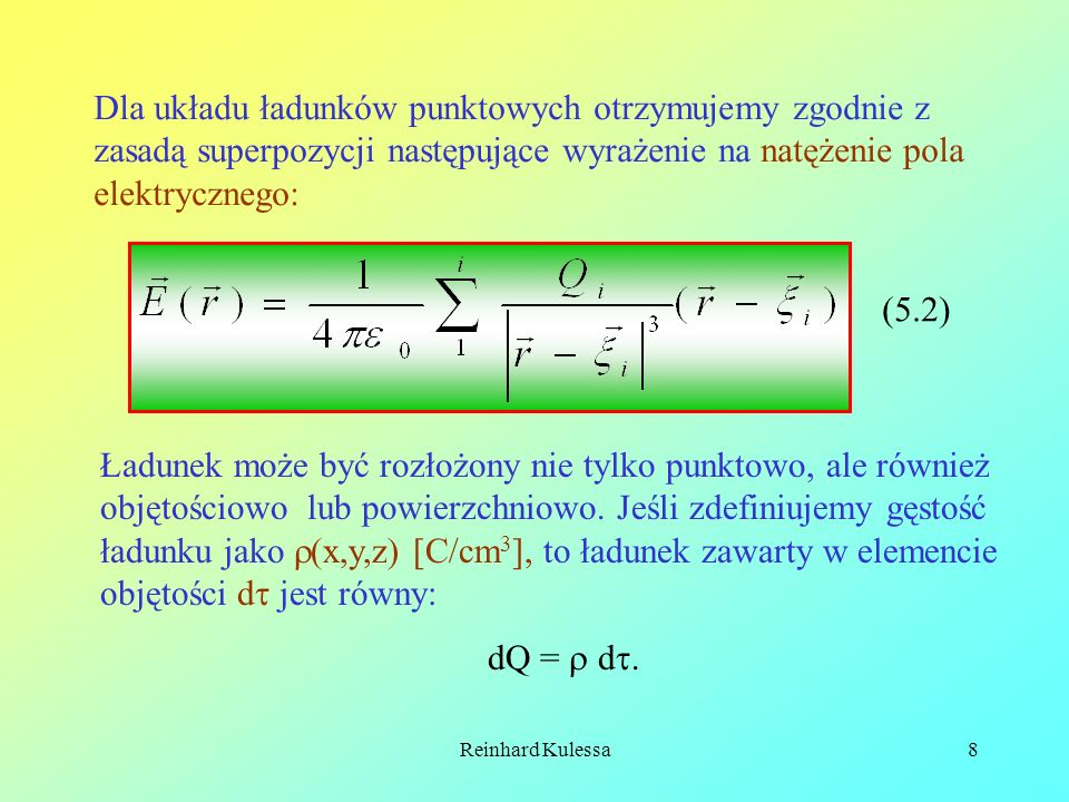 Dla układu ładunków punktowych otrzymujemy zgodnie z zasadą superpozycji następujące wyrażenie na natężenie pola elektrycznego: