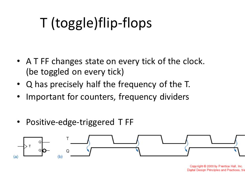 T (toggle)flip-flops A T FF changes state on every tick of the clock. (be toggled on every tick) Q has precisely half the frequency of the T.