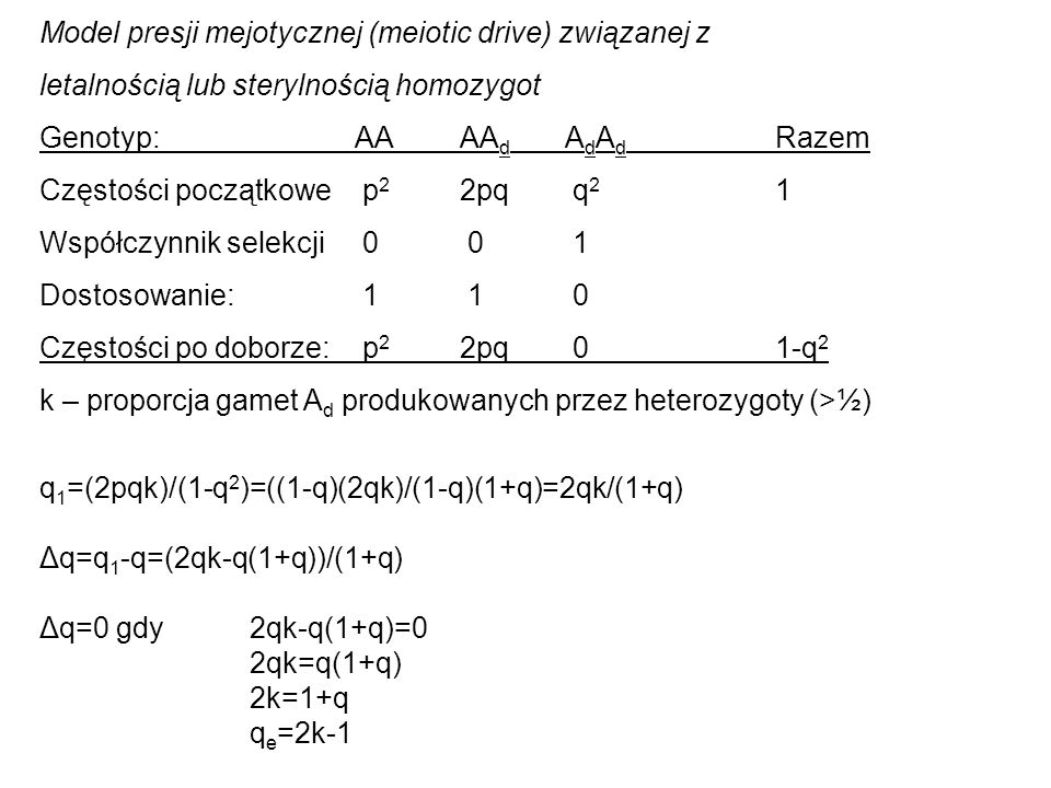 Model presji mejotycznej (meiotic drive) związanej z